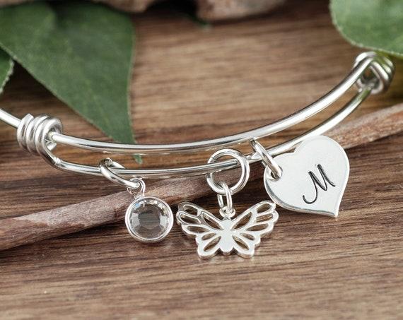 Personalized Butterfly Bracelet, Butterfly Initial Bracelet, Initial Charm Bracelet, Sympathy GIft for her, Memorial Bracelet, Gift for Her