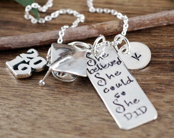 Class of 2019, She believed she could so She Did Necklace, Graduation Gift Necklace, Personalized Inspiration Necklace, Gift for Graduate