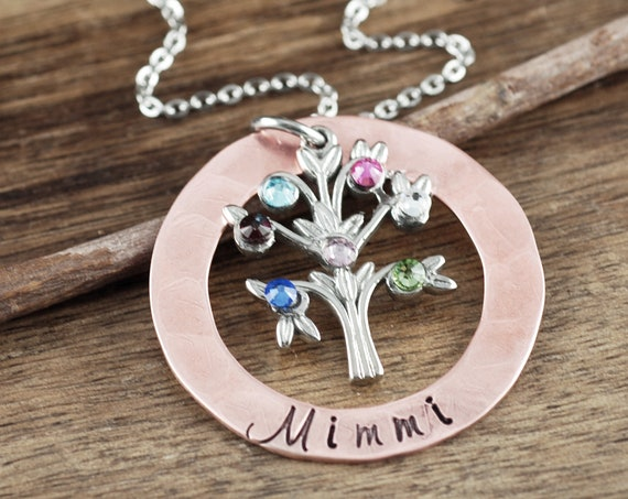 Family Tree Necklace, Grandmother Necklace, Grandma Jewelry, Grandma Necklace, Gift for Grandma, Grandma Gift, Mother's Day Gift