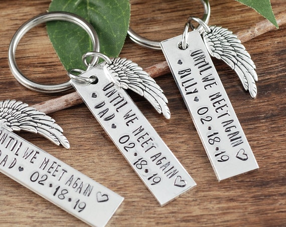 Until we meet again Keychain, Memorial Keychain, Sympathy Gift,Loss of Loved One, Remembrance Keychain, Bereavement Jewelry, Angel Wing Gift