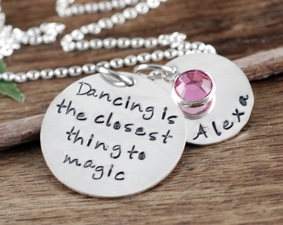 Personalized Dance Necklace, Dancing Necklace, Dance Jewelry, Personalized Jewelry for Dancers, Dance Team Gift, Dance Teacher Gift