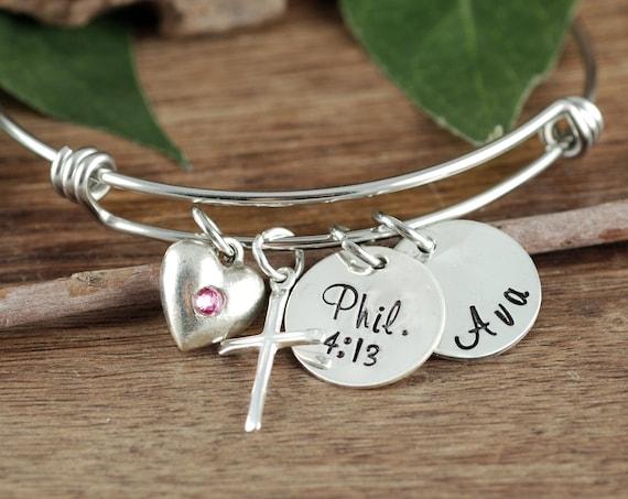 Confirmation Bracelet, Personalized Confirmation GIft, Faith Bracelet, Custom Name Bracelet, Bible Verse Bangle Bracelet, Cross Bracelet