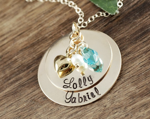 Personalized Grandma Necklace, Hand Stamped Grandma Jewelry, Gold Nana Necklace, Birthstone Necklace, Gift for Grandma, Nana