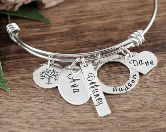 Custom Name Bracelet, Custom Mom Bracelet, Tree of Life Bracelet for Grandma, Personalized Name Bracelet, Mother's Bracelet, Gift for Mom