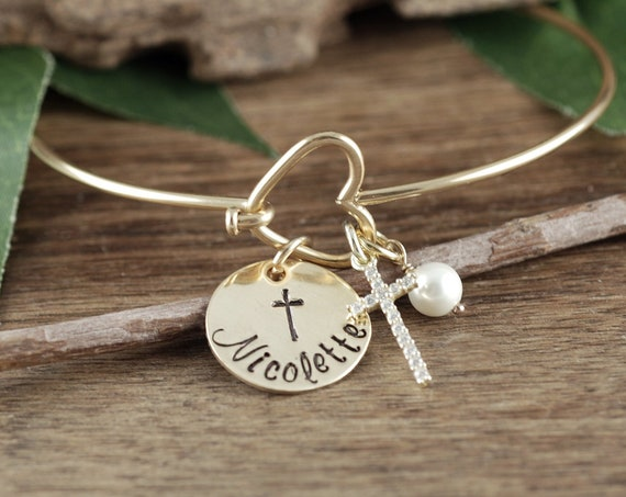 Personalized Confirmation Gift for Girls, Confirmation Jewelry, Confirmation Bracelet, Faith Bracelet, Custom Name Bracelet, Cross Bracelet