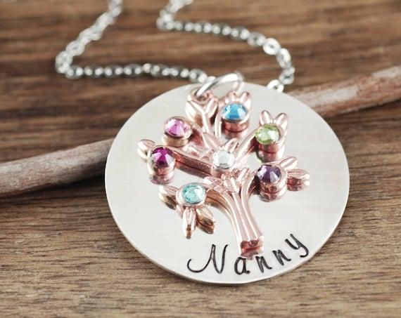 Family Tree Grandma Necklace, Grandmother Necklace, Grandma Jewelry, Nanny Necklace, Gift for Grandma, Grandma Gift, Mother's Day Gift