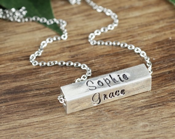 Mother's Bar Necklace, 4 Sided Bar Necklace, Hand Stamped Necklace, Gift for Mom, Mothers Day Gift, Birthstone Necklace, Personalized Bar
