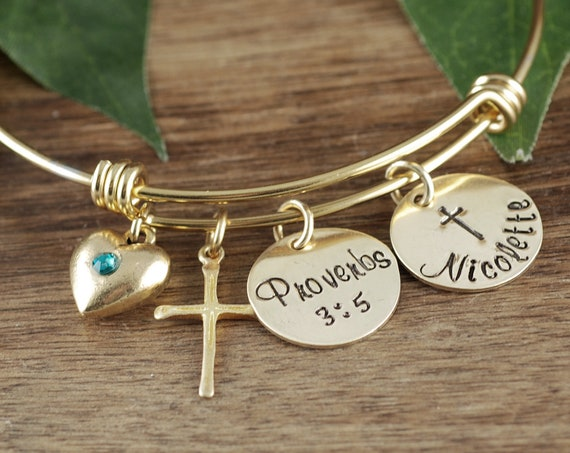 Confirmation Bracelet, Personalized Confirmation GIft, Faith Bracelet, Custom Name Bracelet, Bible Verse Bangle Bracelet, Cross Bracelet