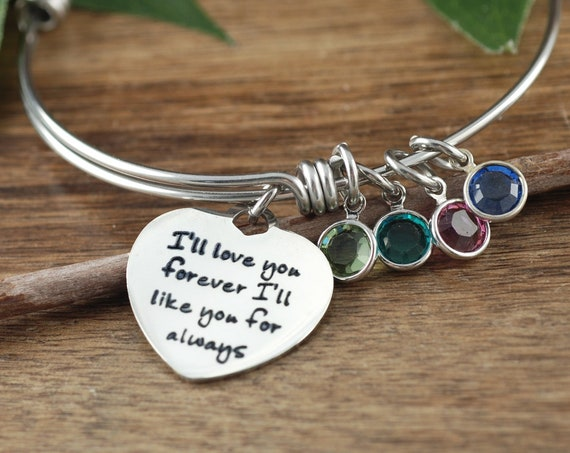 I'll Love you forever. I'll Like you for always, Birthstone Mom Bracelet, Mother's Birthstone Bracelet, Gift For Mom, Mother's Day Gift