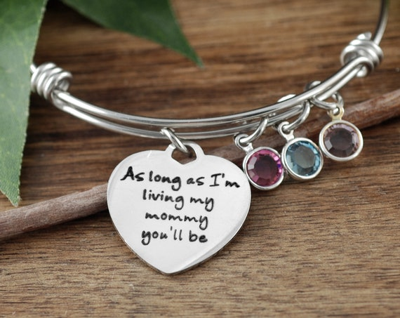 As long as Im Living My Mommy you'll Be Bracelet, Personalized Mom Bracelet, Mother's Birthstone Bracelet, Gift For Mom, Mother's Day Gift