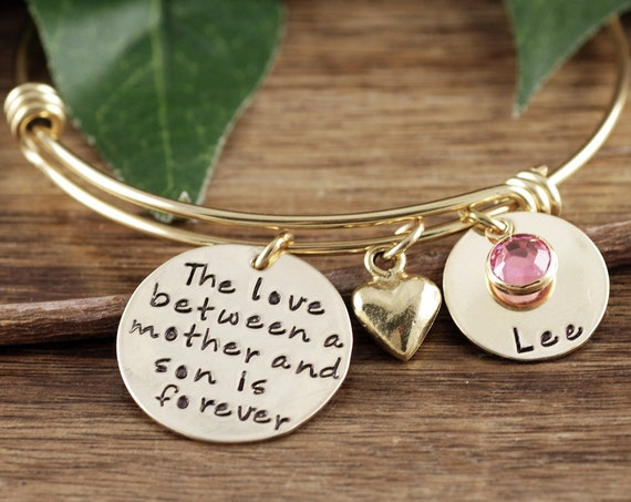 Love between Mother and Son Bracelet, Personalized Bangle Bracelet, Mother Son Bracelet, Gold Bangle, Charm Bracelet, Gift for Mom