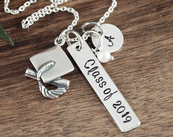 Personalized Graduation Gift for Her, Graduation Gift Necklace, Custom Graduation Necklace, Class of 2019, High School Graduation Gift