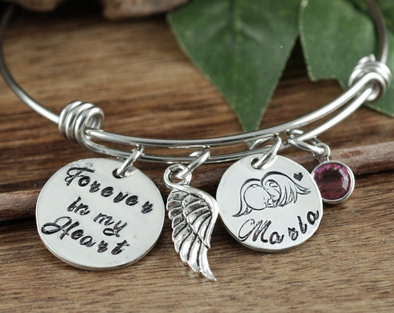 Personalized Miscarriage Bracelet, Miscarriage Gift, Personalized Memorial Bracelet, Forever in my Heart, Angel Baby Bracelet for mom