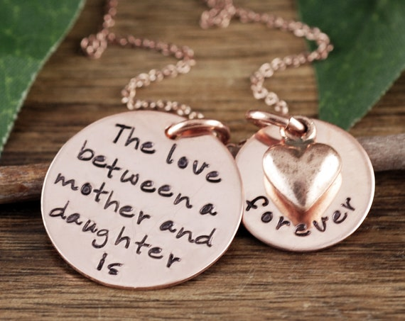 The love between a mother and daughter is forever, Personalized Hand Stamped Necklace, Mother's Necklace, Mommy Necklace, Christmas Gift Mom