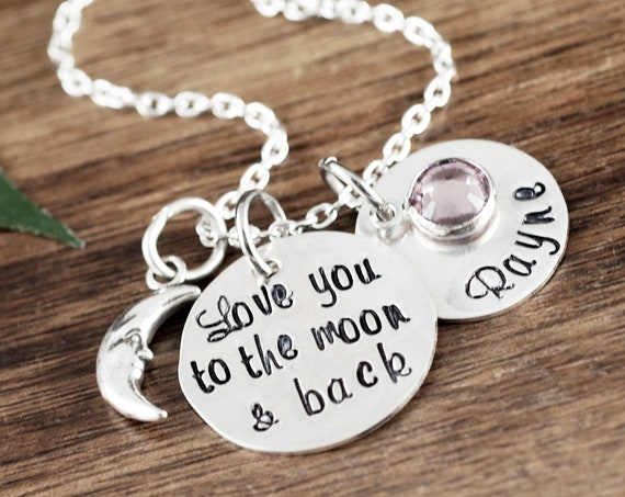Love you to the Moon and Back Necklace, Daughter Gift, Mom Necklace, Personalized Necklace for Daughter, Name Necklace, Necklace for Her