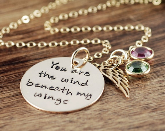 Mother of the Bride Gift, Wind beneath my Wings, Bridal Gift for mom, Necklace for Mom, Personalized Necklace, Bridal GIft for Mom
