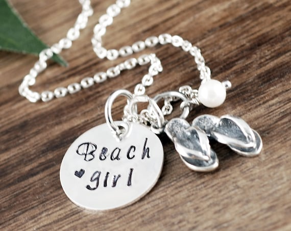 Beach Girl Necklace, Beach Girl Jewelry, Handstamped Necklace, Flip Flop Charm Necklace, Summer Jewelry for Woman, Beach Gift Ideas