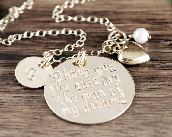 Mother of the Bride Necklace, Personalilzed 14kt Gold Filled, Mother of the Groom Necklace, Gift from Bride to Mom, Gift for Mother in Law