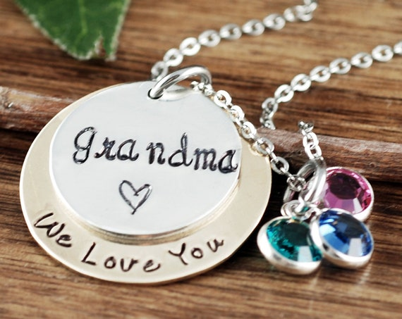 Personalized Grandma Necklace, We Love You, Grandmother Necklace, Gift for Grandma, Grandma Jewelry, Grandma Gift, Gifts for Grandma