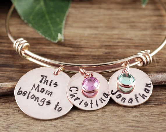 Personalized Mom Bracelet, Personalized Charm Bracelet, Gift for Mom, Mothers Day Gift, Name Bracelet, Mother's Gift for Christmas