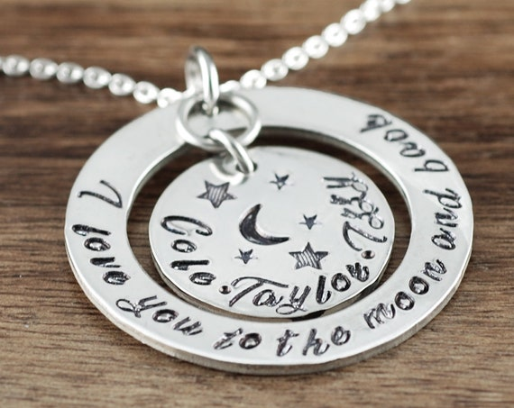 Love youto the Moon and Back Necklace, Personalized Necklace for Mom, Hand Stamped Necklace, Personalized Necklace, Christmas Gift or Mom