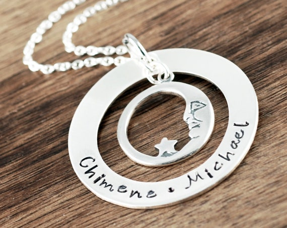 Mother's Necklace, Custom Name Necklace, Love you to the Moon and Back Necklace, Grandmom Jewelry, Grandma Jewelry, Gift for Mom, Grandma