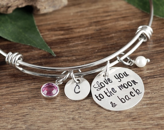 Love you to the Moon and Back Bracelet, Daughter Gift, Gift Mom Bracelet, Bracelet for Daughter, Hand Stamped Gift for Daughter