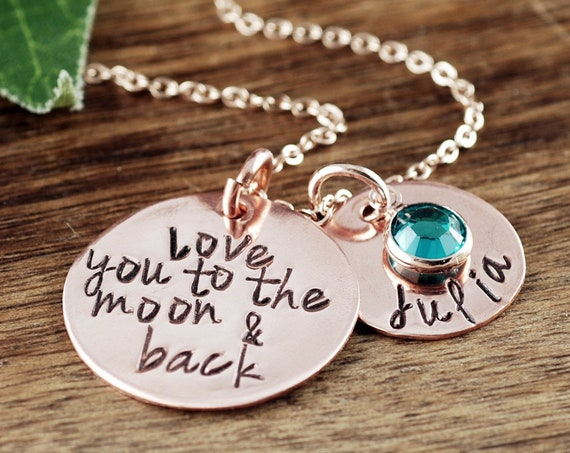 Love you to the Moon and Back Necklace, Mother's Gift, Mom Necklace, Personalized Necklace for Mom, Name Necklace, Custom Necklace for Her