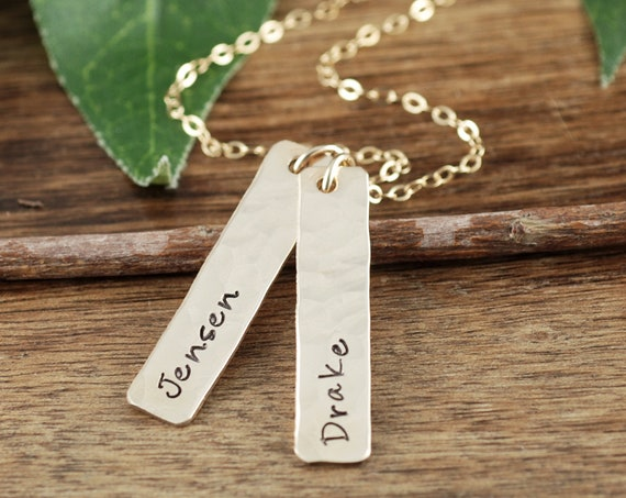 Gold Name Bar Necklace, Hand Stamped Jewelry, Mother's Necklace, Name Necklace, Personalized Name Jewelry, Gold Tag Necklace, Gift for Her