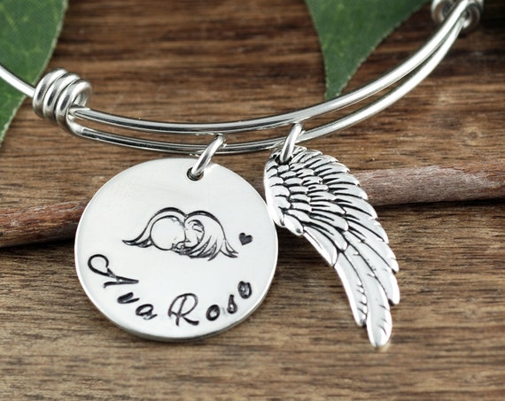 Sympathy Gift for Mom, Angel Baby Bracelet, Personalized Miscarriage Bracelet, Miscarriage Gift, Personalized Memorial Bracelet
