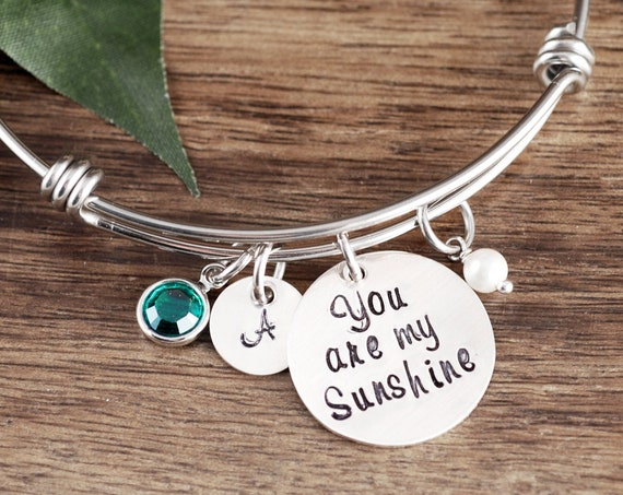 You are my Sunshine Bracelet, Daughter Gift, Gift Mom Bracelet, Bracelet for Daughter, Hand Stamped Gift for Daughter