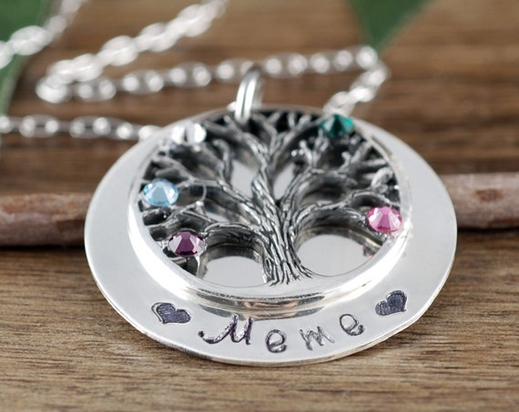 Family Tree Grandma Necklace, Silver Mother's Necklace, Grandmother Jewelry, Birthstone Family Tree Necklace, Tree of Life Jewelry