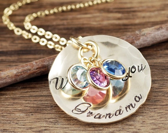 Custom Mother's Necklace - Disc Necklace - Grandma Necklace - Layering Necklace - Christmas Gift - Birthstone Jewelry - Hand Stamped Jewelry