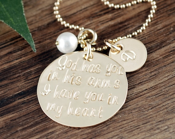 Personalilzed Gold Memorial Necklace, God has you in his arms, I have you in my Heart, Miscarriage, Remembrance Necklace, Infant Loss