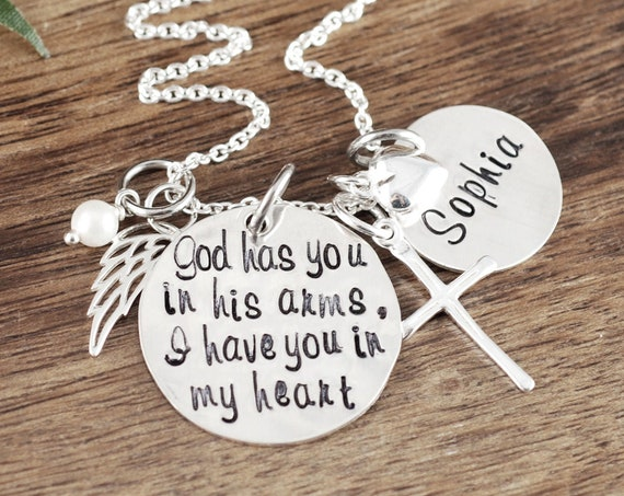 Memorial Gift, Memorial Necklace, God has you in his arms, I have you in my Heart, Miscarriage Necklace, Remembrance Necklace, Wing Necklace