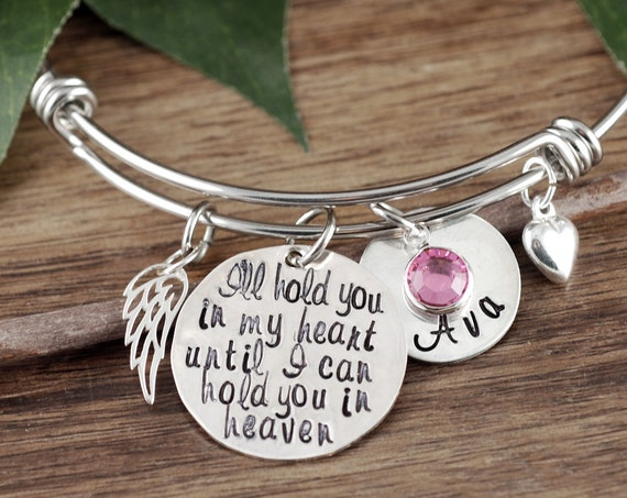 I'll Hold you in my Heart until I hold you in Heaven, Memorial Bracelet, Memorial Gift, Miscarriage Bracelet, Remembrance Gift, Grief Gift