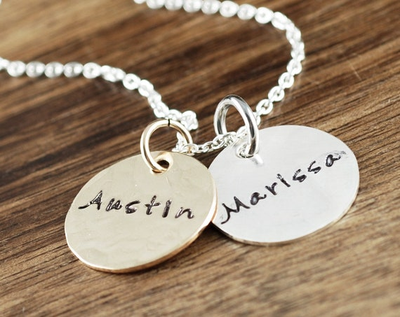 Personalized Mom Necklace with Kids Names, Name Necklace, Hand Stamped Mommy Necklace, Gift for Mom, Gift for Grandma, Mom Necklace