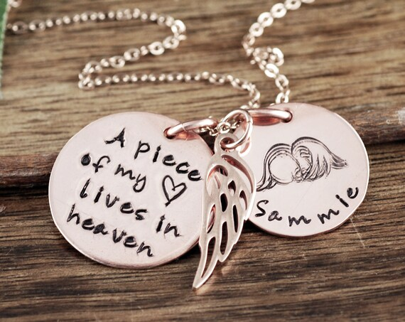 Miscarriage Necklace, Miscarriage Gift, Personalized Memorial Necklace, A piece of my heart lives in heaven, Remembrance Necklace