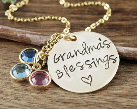Grandma Birthstone Jewelry, Birthstone Necklace for Grandma, Jewelry for Nana Mom, Name Necklace, Birthstone Jewelry, Grandma's Blessings