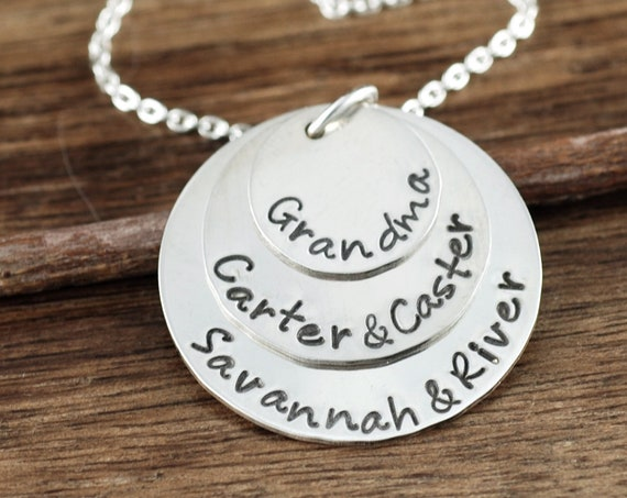 Personalized Grandma Necklace, GrandMother's Necklace, Hand Stamped Necklace, Personalized Necklace, Christmas Gift, Gift for Grandma