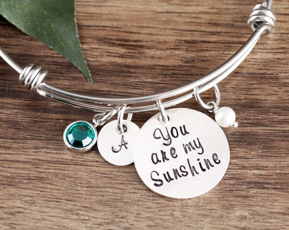 You are my Sunshine, Personalized Bracelet, Mothers Bracelet, Handstamped Bracelet, Daughter Gift, Granddaughter Gift, Birthday for Daughter