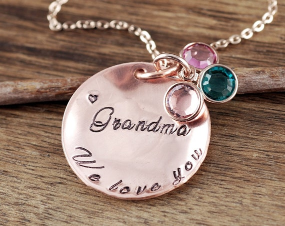 Grandma Birthstone Jewelry, Birthstone Necklace for Grandma, Jewelry for Nana Mom, Custom Name Necklace, Birthstone Jewelry, Gift for Mom