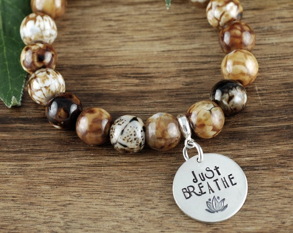 Just Breathe Stretch Bracelet, Yoga Bracelet, Let That Shit Go Bracelet, Yoga Jewelry, Beaded Bracelet, No Mud No Lotus, Stretch Bracelet