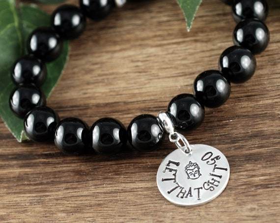 Let That Shit Go Bracelet, Buddah Bracelet, Yoga Gift, Yoga Bracelet, Yoga Jewelry, Beaded Bracelet, No Mud No Lotus, Stretch Bracelet