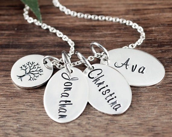 Sterling Silver Mom Necklace, Custom Name Necklace, Tree of Life Necklace for Grandma, Personalized Name Necklace, Mother's Necklace