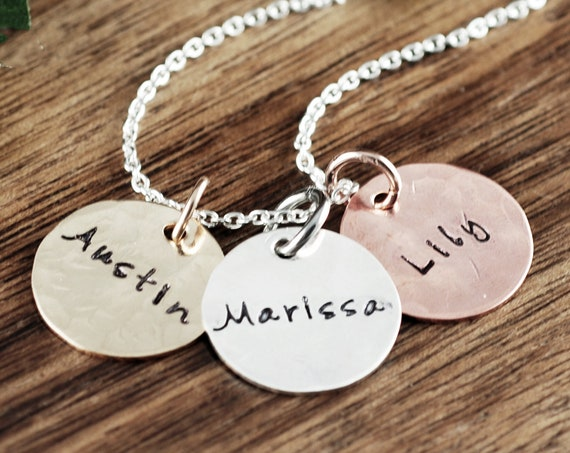 Mom Necklaces with Kids Names, Personalized Name Necklace, Hand Stamped Mommy Necklace, Gift for Mom, Gift for Grandma, Mom Necklace