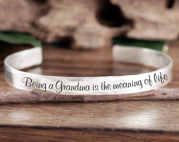 Personalized Grandma Gift, Gift for Grandma, Gift from Granddaughter, Custom Cuff Bracelet, Grammy Jewelry, Mother's Day, Gift From Grandson