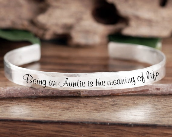 Personalized Aunt Gift, Gift from Niece, Custom Cuff Bracelet, Gift for Aunt, Aunt Jewelry, Mother's Day, Gift From Nephew, Auntie Jewelry
