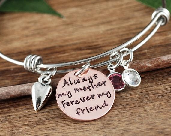 MOTHER Bracelet, Personalized Mom Bracelet, Always my Mother, Forever My Friend, Personalized Bracelet, Charm Bracelet, Gift for Mom