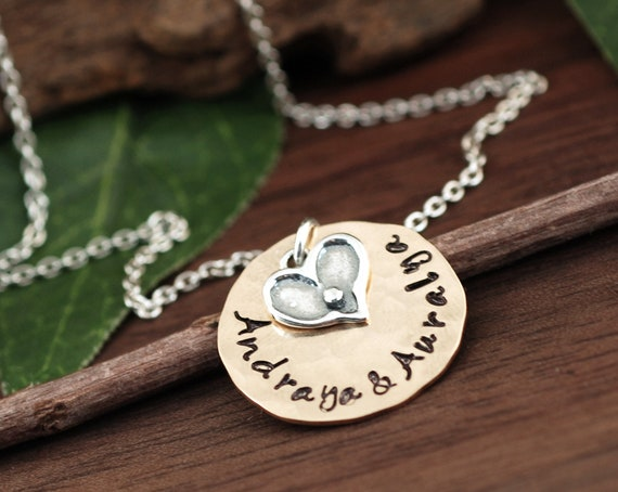 Personalized Name Necklace, Hand Stamped Necklace, Mother's Necklace, Personalized Jewelry, Gift for Mom, Mother's Day Gift from Kids